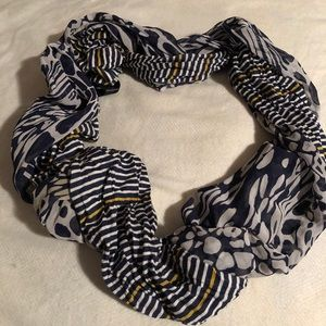 EXPRESS navy white and yellow infinity scarf
